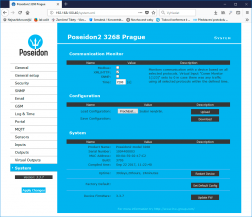 WWW interface with default button in Poseidon2 and Damocles2 devices