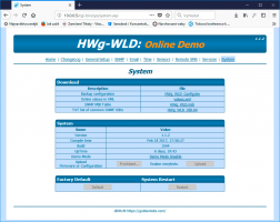 WWW interface with default button in HWg-WLD devices